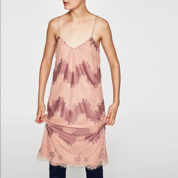 Zara Dresses & Skirts - Zara Pink Mauve Delicate Lace Slip Midi Dress